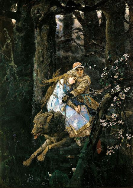 Vasnetsov, Viktor Mikhailovich: Prince Ivan on the Grey Wolf, 1889. Fine Art Print/Poster. Sizes: A4/A3/A2/A1 (00586)